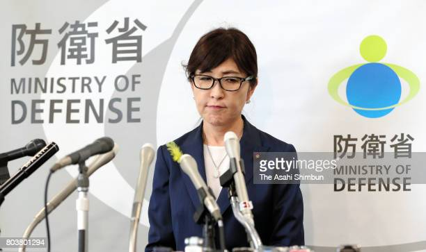 Defense Minister Tomomi Inada speaks during a press conference at the Defense Ministry on June 30 2017 in Tokyo Japan Defense Minister Tomomi Inada...