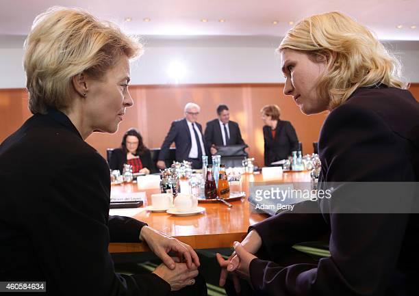 Defense Minister Ursula von der Leyen and Family Minister Manuela Schwesig arrive for the weekly German federal Cabinet meeting on December 17 2014...