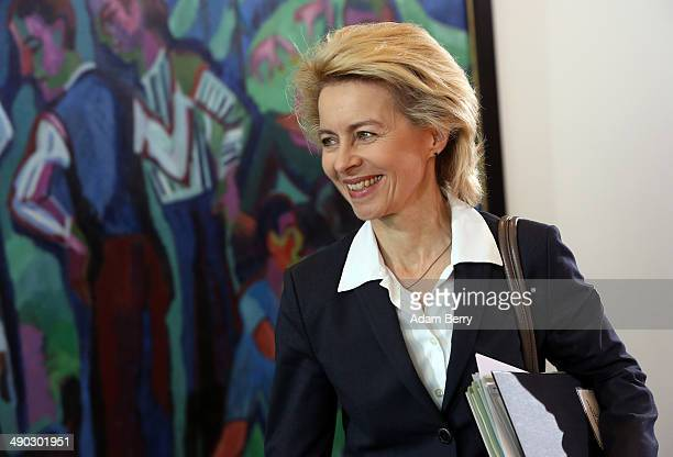 Defense Minister Ursula von der Leyen arrives for the weekly German federal Cabinet meeting on May 14 2014 in Berlin Germany High on the meeting's...