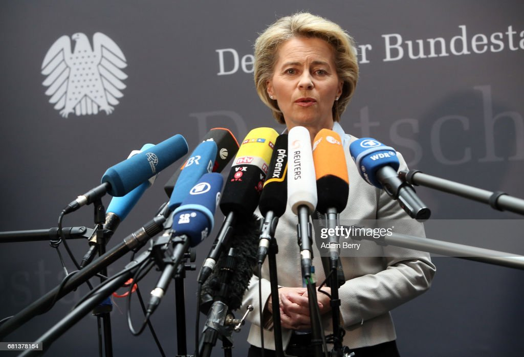 Defense Minister Ursula von der Leyen (CDU) speaks to the media during a special meeting of a German federal Parliament (Bundestag) commission into abuse within the German military (Bundeswehr) on May 10, 2017 in Berlin, Germany. The hearing, concerning the case of Franco A., was held as he sits in custody awaiting charges after allegedly posing under a false identity as an asylum seeker, one of a series of scandals in the department including that suspect's potential plot for a racially-motivated terror attack, as well as others involving alleged sexual harassment and bullying.