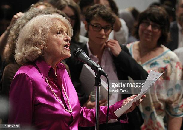 Defense of Marriage Act plaintiff Edith 'Edie' Windsor speaks to supporters in Manhattan following the US Supreme Court ruling on DOMA on June 26...
