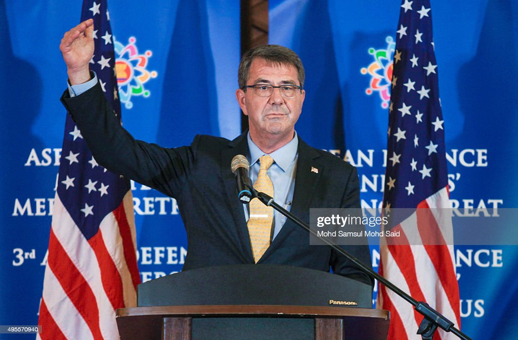 S Defense Secretary Ash Carter attends a news conference after the ASEAN defence ministers meeting plus 2015 on November 4 2015 in Kuala Lumpur...