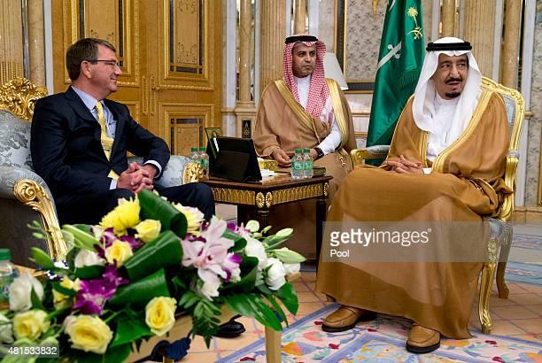 S Defense Secretary Ash Carter meets with Saudi Arabian King Salman bin Abdul Aziz at AlSalam Palace on July 22 2015 in Jeddha Saudi Arabia Carter is...