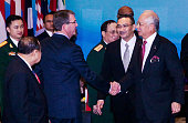 S Defense Secretary Ash Carter shake hand with Malaysia's Prime Minister Najib Razak after the ASEAN defence ministers meeting plus 2015 on November...