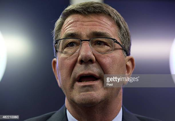 S Defense Secretary Ash Carter speaks to media on a military aircraft Sunday July 19 en route to Tel Aviv Israel from Andrews Air Force Base MD...
