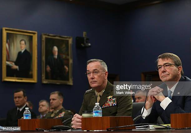Defense Secretary Ashton Carter and Chairman of the Joint Chiefs of Staff Gen Joseph Dunford Jr appear before the House Appropriations Committee on...