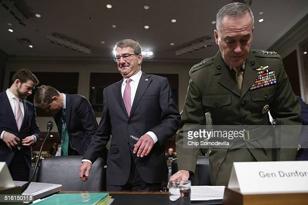 S Defense Secretary Ashton Carter and Chairman of the Joint Chiefs of Staff Gen Joseph Dunford Jr prepare to testify about the Pentagon budget before...