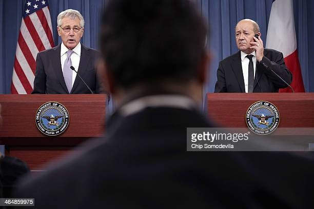 S Defense Secretary Chuck Hagel and French Defense Minister JeanYves Le Drian hold a news conference at the Pentagon January 24 2014 in Arlington...