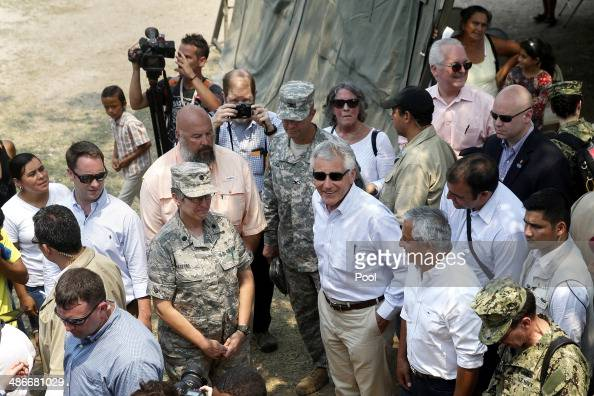 S Defense Secretary Chuck Hagel and President of Guatemala Otto Perez Molina visit the Beyond the Horizons medical site on April 25 2014 in Los...