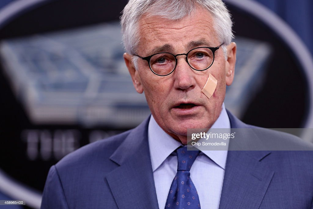 U.S. Defense Secretary Chuck Hagel announces a series of reforms to the troubled nuclear force during a press briefing at the Pentagon November 14, 2014 in Arlington, Virginia. The measures are designed to shore up the US military's troubled nuclear force after a spate of incidents exposed management and morale problems.
