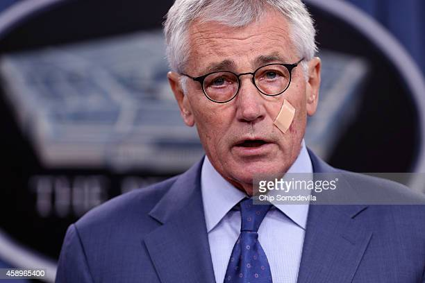 S Defense Secretary Chuck Hagel announces a series of reforms to the troubled nuclear force during a press briefing at the Pentagon November 14 2014...
