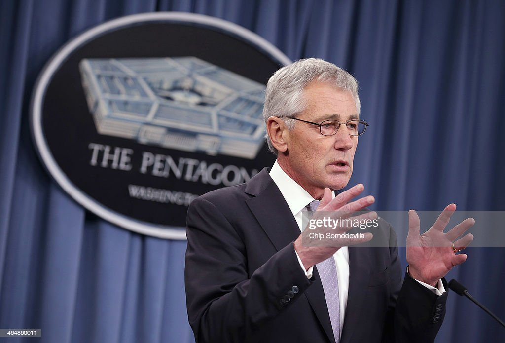 U.S. Defense Secretary <a gi-track='captionPersonalityLinkClicked' href=/galleries/search?phrase=Chuck+Hagel&family=editorial&specificpeople=504963 ng-click='$event.stopPropagation()'>Chuck Hagel</a> answers reporters' questions during a news conference with French Defense Minister Jean-Yves Le Drian at the Pentagon January 24, 2014 in Arlington, Virginia. The two leaders talked about their military cooperation in Africa and other topics during their meetings.