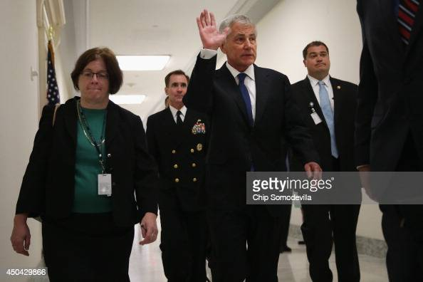 S Defense Secretary Chuck Hagel arrives before testifying to the House Armed Services Committee about the about the prisoner exchange that freed Army...