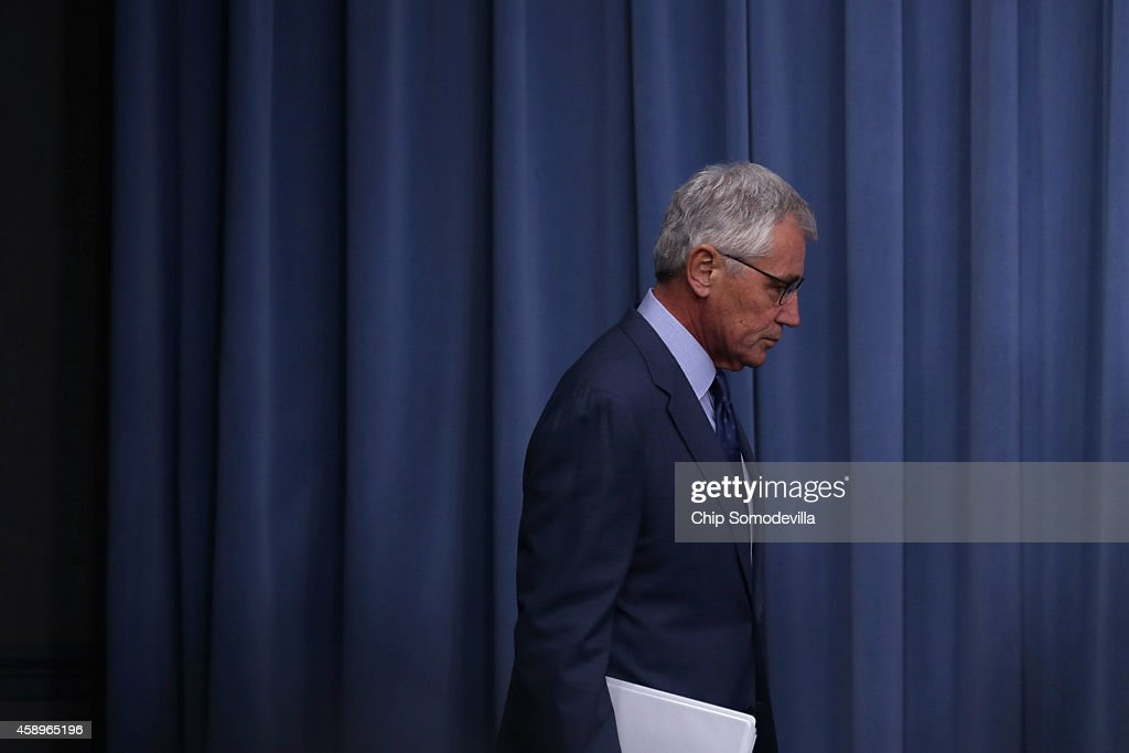 U.S. Defense Secretary <a gi-track='captionPersonalityLinkClicked' href=/galleries/search?phrase=Chuck+Hagel&family=editorial&specificpeople=504963 ng-click='$event.stopPropagation()'>Chuck Hagel</a> arrives for a news conference before announcing a series of reforms to the troubled nuclear force at the Pentagon November 14, 2014 in Arlington, Virginia. The measures are designed to shore up the US military's troubled nuclear force after a spate of incidents exposed management and morale problems.