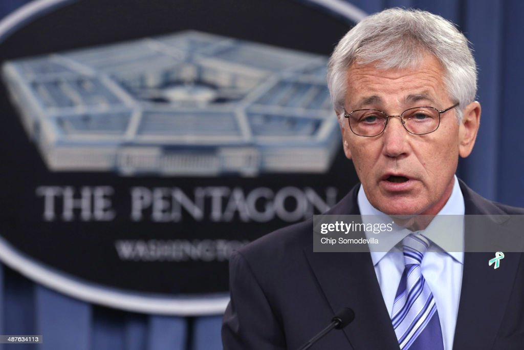 U.S. Defense Secretary <a gi-track='captionPersonalityLinkClicked' href=/galleries/search?phrase=Chuck+Hagel&family=editorial&specificpeople=504963 ng-click='$event.stopPropagation()'>Chuck Hagel</a> delivers remarks about the Defense Department's sexual assault prevention and response program at the Pentagon May 1, 2014 in Arlington, Virginia. Reports of sexual assaults by members of the military rose by 50 percent. Pentagon officials said they believe the increase is because of a vigorous campaign to get more victims to to report the crimes and not because of a real rise in the number of assaults.