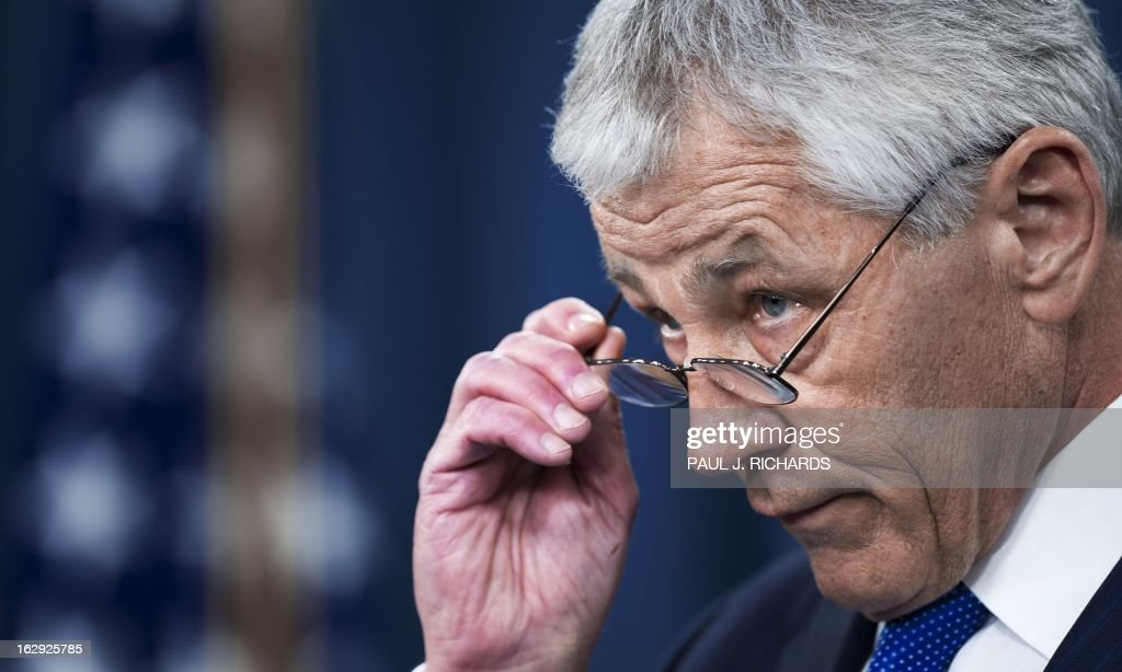 US Defense Secretary Chuck Hagel delivers remarks on the impending sequestration duing a media briefing on March 1, 2013 at the Pentagon in Washington. AFP PHOTO/Paul J. Richards