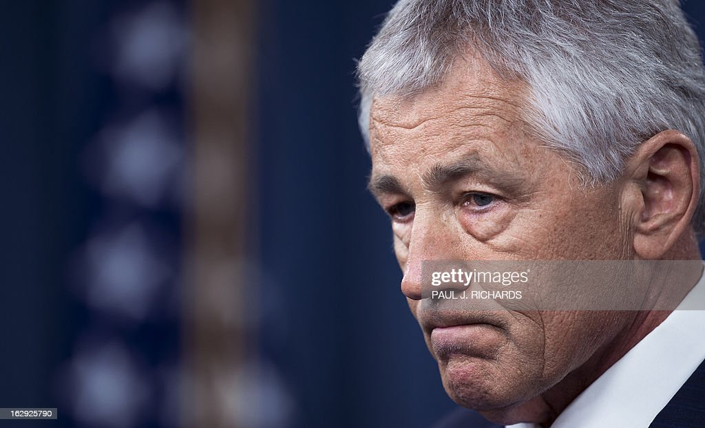 US Defense Secretary Chuck Hagel delivers remarks on the impending sequestration during a media briefing on March 1, 2013 at the Pentagon in Washington. AFP PHOTO/Paul J. Richards