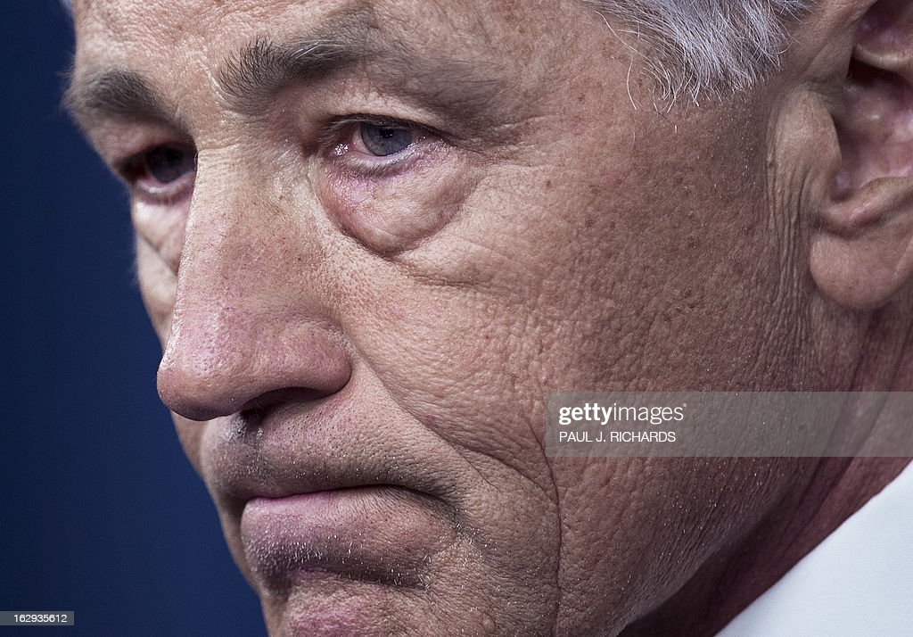 US Defense Secretary Chuck Hagel delivers remarks on the impending sequestration ON March 1, 2013 to reporters in the Pentagon Briefing room in Washington. AFP PHOTO/Paul J. Richards