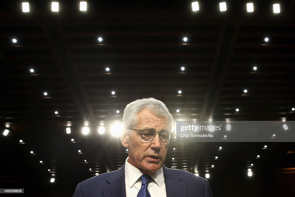 U.S. Defense Secretary Chuck Hagel leaves after testifying before the Senate Armed Services Committee in the Hart Senate Office Building on Capitol Hill September 16, 2014 in Washington, DC. Senators questioned Hagel and and Chairman of the Joint Chiefs of Staff Army Gen. Martin Dempsey about the threat posed by the terrorist group calling itself the Islamic State of Iraq and the Levant or ISIL.