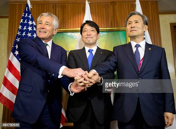 S Defense Secretary Chuck Hagel meets with South Korean Defense Minister Kim Kwanjin and Japanese Defense Minister Itsunori Onodera May 31 2014 in...