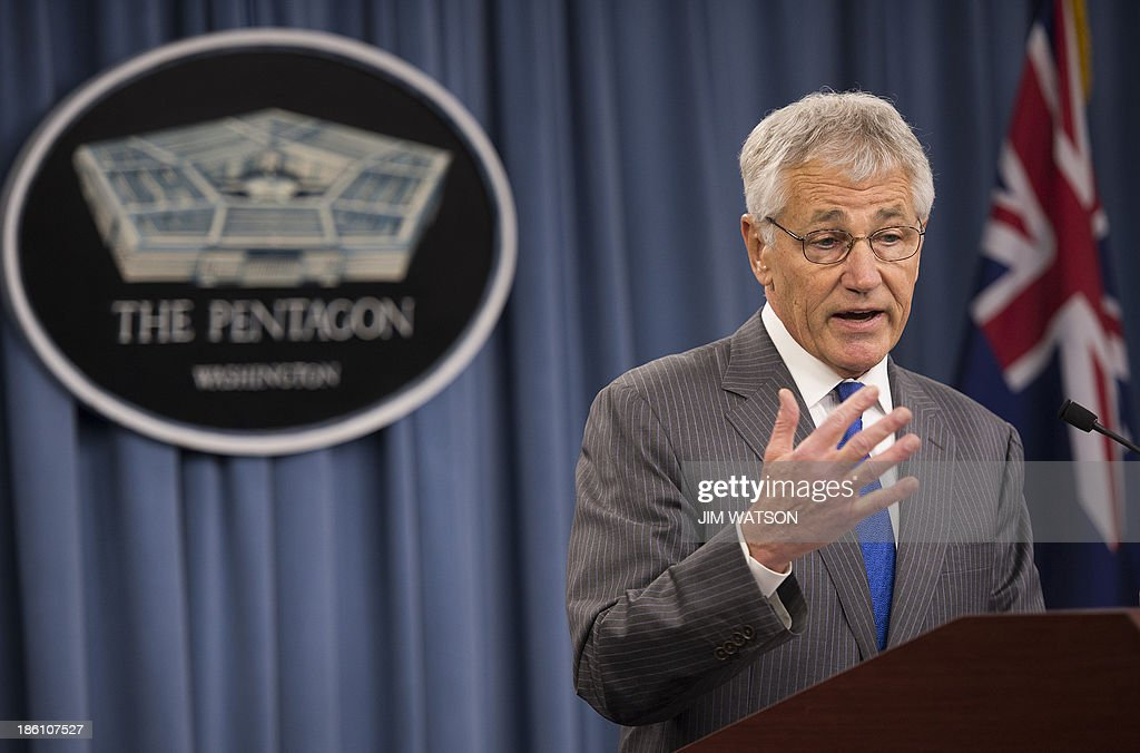 US Defense Secretary Chuck Hagel speaks during a press conference with and New Zealand Defense Minister Jonathan Coleman (not seen) at the Pentagon in Washington, DC, October 28, 2013. AFP PHOTO / Jim WATSON