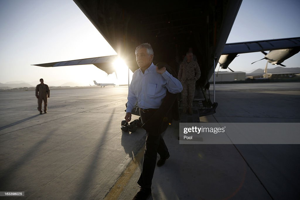 US Defense Secretary <a gi-track='captionPersonalityLinkClicked' href=/galleries/search?phrase=Chuck+Hagel&family=editorial&specificpeople=504963 ng-click='$event.stopPropagation()'>Chuck Hagel</a> steps off a C-130 aircraft after visiting with members of the 101st Airborne Airborne Division at Jalalabad Airfield on March 9, 2013 near the southeast of Jalalabad city, Afghanistan. Hagel is on his first official trip since being sworn in as US President Obama's Defense Secretary.