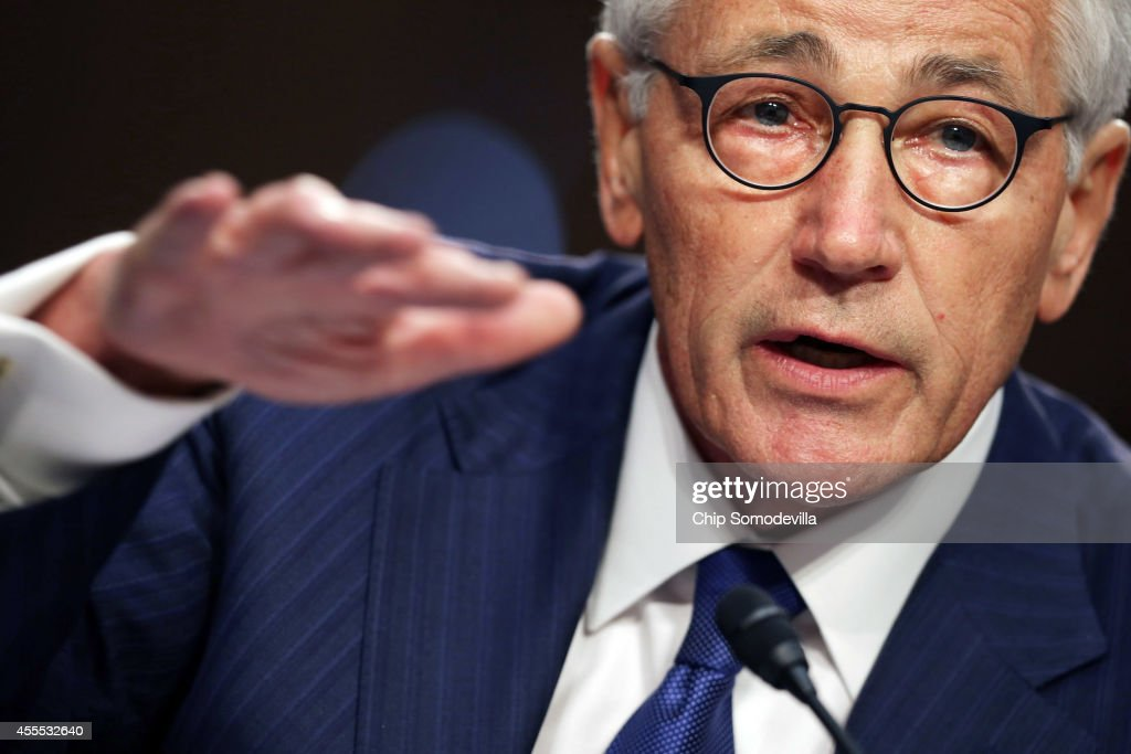U.S. Defense Secretary <a gi-track='captionPersonalityLinkClicked' href=/galleries/search?phrase=Chuck+Hagel&family=editorial&specificpeople=504963 ng-click='$event.stopPropagation()'>Chuck Hagel</a> testifies before the Senate Armed Services Committee in the Hart Senate Office Building on Capitol Hill September 16, 2014 in Washington, DC. Senators questioned Hagel and Chairman of the Joint Chiefs of Staff Army Gen. Martin Dempsey about the threat posed by the terrorist group calling itself the Islamic State of Iraq and the Levant or ISIL.