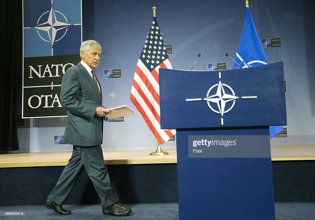 U.S. Defense Secretary Chuck Hagel walks to the podium to speak during his news conference at the conclusion of a meeting of the North Atlantic Council (NATO) on June 4, 2014 in Brussels, Belgium. NATO defense ministers gathered for the first time since the Ukraine crisis, and top of the agenda was how to react long-term to Russia's new military capabilities and its willingness to use them.