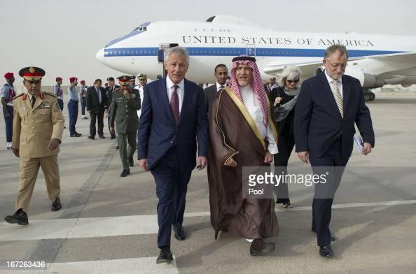 S Defense Secretary Chuck Hagel walks with Deputy Minister of Defense Prince Fahd bin Abdullah upon his arrival at King Khaled International Airport...