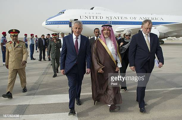 S Defense Secretary Chuck Hagel walks with Deputy Minister of Defense Prince Fahd bin Abdullah upon his arrival at King Khaled International Airport...