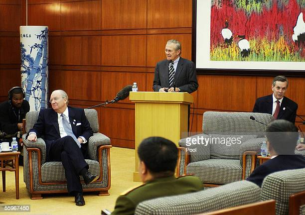 Defense Secretary Donald Rumsfeld speaks during a visit to the Central Party School a think tank for Communist Party leaders as US Ambassador to...