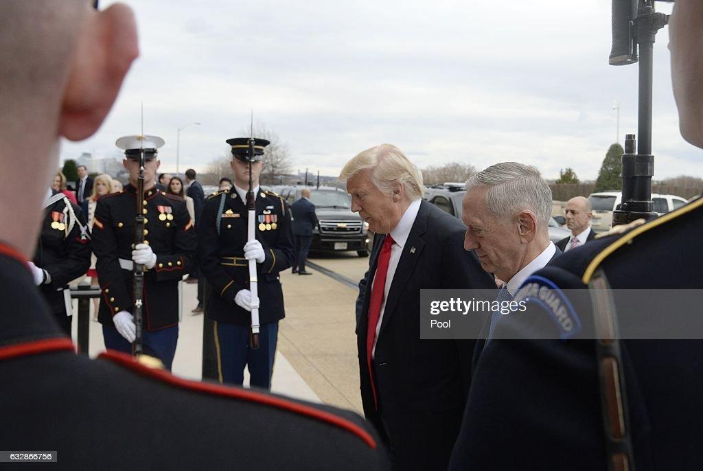 U.S. Defense Secretary Gen. James Mattis greets President Donald Trump at the Pentagon on January 27, 2017 in Arlington, Virginia.
