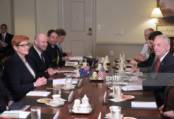 US Defense Secretary James Mattis and Australia's Defense Mi nister Marise Payne are seated for a meeting after delivering statements to the press at...