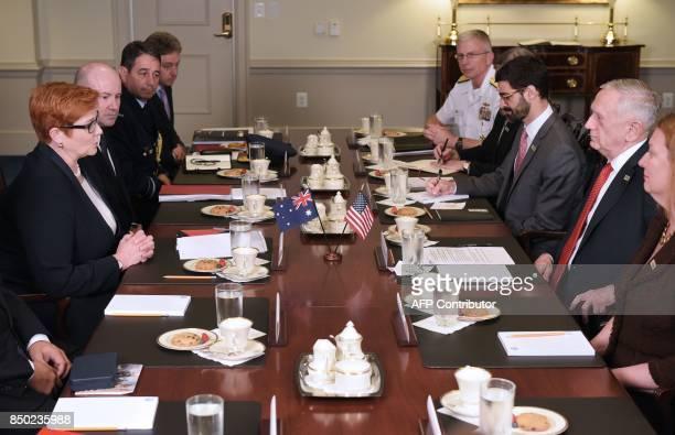 US Defense Secretary James Mattis and Australia's Defense Minister Marise Payne speak at the start of their meeting at the Pentagon in Washington DC...