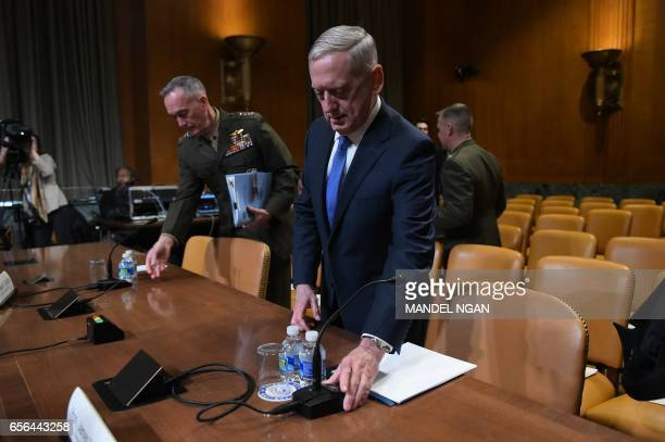 Defense Secretary James Mattis and Chairman of the Joint Chiefs of Staff Joseph Dunford arrive to testify before the Senate Appropriations Committee...