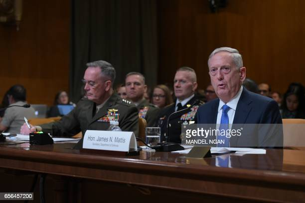 Defense Secretary James Mattis and Chairman of the Joint Chiefs of Staff Joseph Dunford testify before the Senate Appropriations Committee Defense...