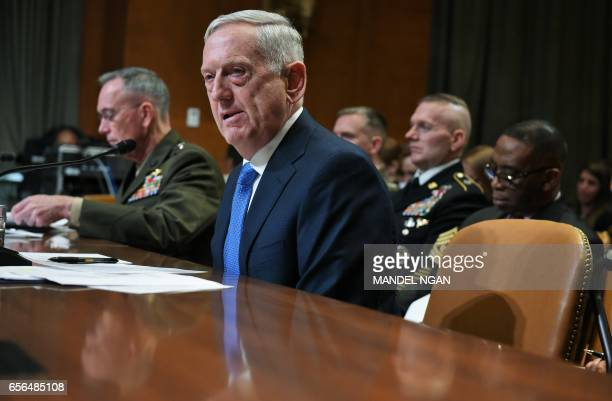 US Defense Secretary James Mattis and Chairman of the Joint Chiefs of Staff Joseph Dunford testify before the Senate Appropriations Committee Defense...