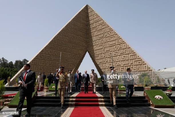 S Defense Secretary James Mattis and Egypt's Central Military Zone Commander General Ayman Abdel Hamid Amer depart after Mattis placed a wreath at...