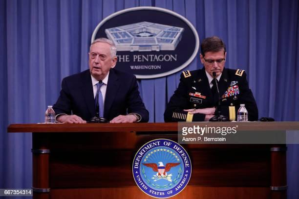 Defense Secretary James Mattis and General Joseph Votel commander US Central Command speak at a press conference at the Pentagon April 11 2017 in...