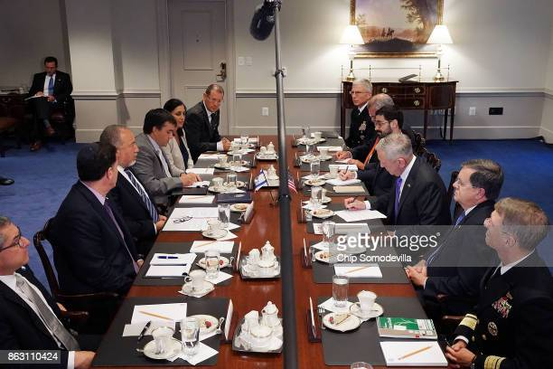 S Defense Secretary James Mattis and Israeli Defense Minister Avigdor Lieberman deliver brief remarks before a lunch meeting at the Pentagon on...