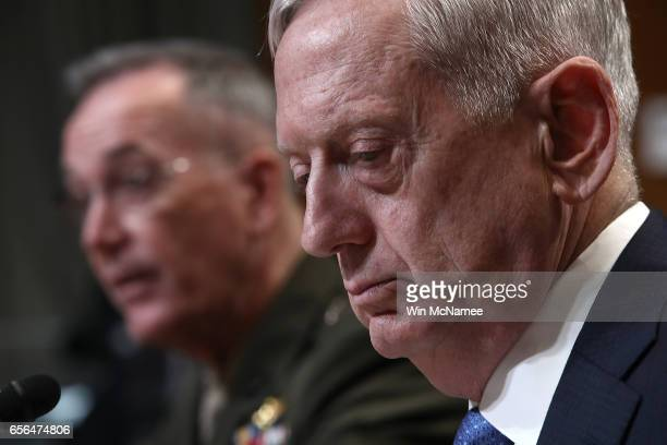 S Defense Secretary James Mattis and Joint Chiefs of Staff Chairman Joseph Dunford testify before the Senate Appropriations Committee March 22 2017...