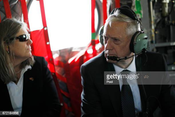 S Defense Secretary James Mattis and Sally Donnelly return via helicopter at Resolute Support headquarters on April 24 2017 in in Kabul Afghanistan...