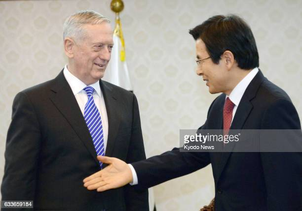 US Defense Secretary James Mattis and South Korea's acting President Hwang Kyo Ahn hold talks in Seoul on Feb 2 2017 The new US defense chief arrived...