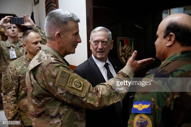 S Defense Secretary James Mattis and US Army General John Nicholson commander of US Forces Afghanistan arrive to meet with an Afghan defense...