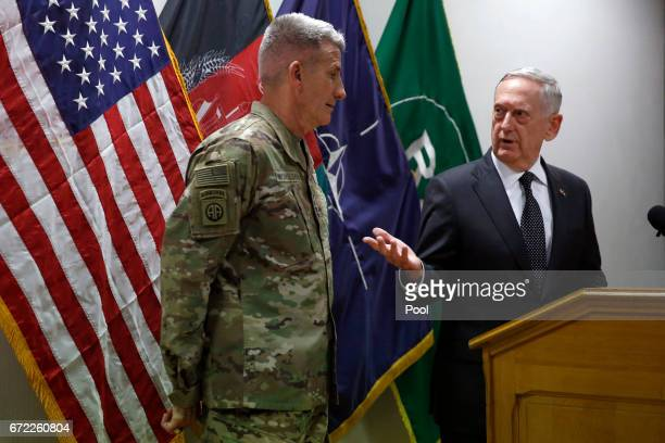 S Defense Secretary James Mattis and US Army General John Nicholson commander of US Forces Afghanistan hold a news conference at Resolute Support...