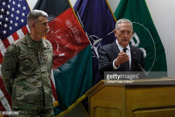 US Defense Secretary James Mattis and US Army General John Nicholson commander of US forces in Afghanistan hold a news conference at Resolute Support...