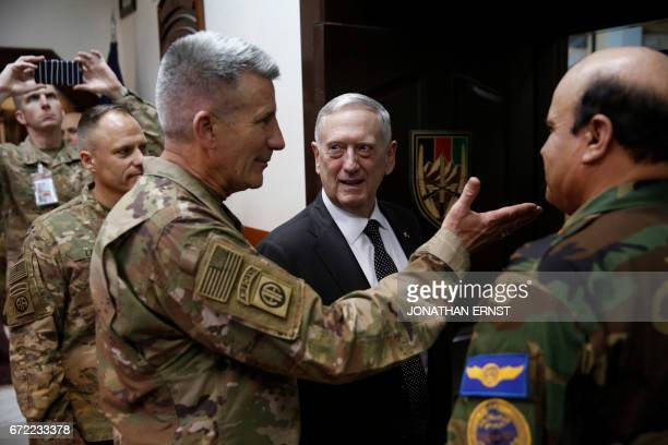 US Defense Secretary James Mattis and US Army General John Nicholson the top US commander in Afghanistan arrive to meet with an Afghan defense...