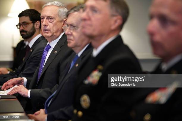 S Defense Secretary James Mattis answers reporters' quesitons about the American soliders who were killed in Niger before a lunch meeting with...