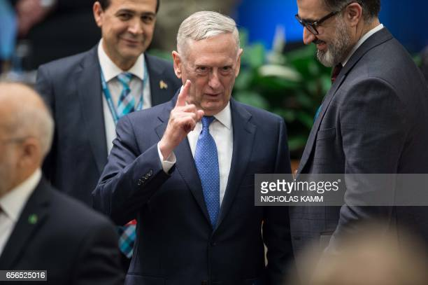 US Defense Secretary James Mattis arrives at a meeting of the coalition to defeat the Islamic State group at the State Department in Washington DC on...