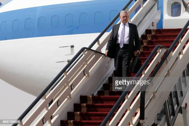 US Defense Secretary James Mattis arrives at the start of a weeklong Middle East visit at King Salman Air Base on April 18 2017 in Riyadh Saudi Arabia